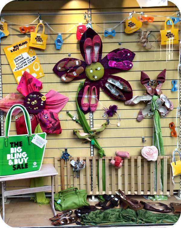 Amazing shoe flowers at Oxfam Wokingham. 53